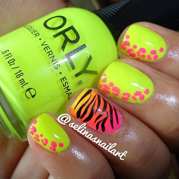 Neon green pink leopard stripes nails | Nails!✌ | Pinterest ...