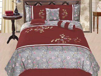 7 Pcs Embroidery Flower Garden Bedding Comforter Set Queen Burgundy Grey