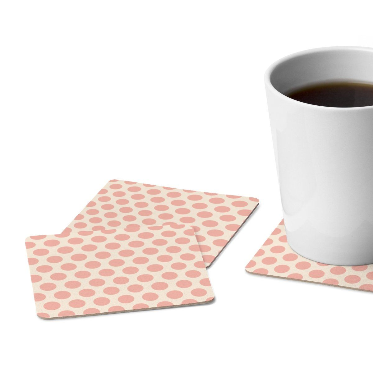 Beige and Pink Polka Dot Square Paper