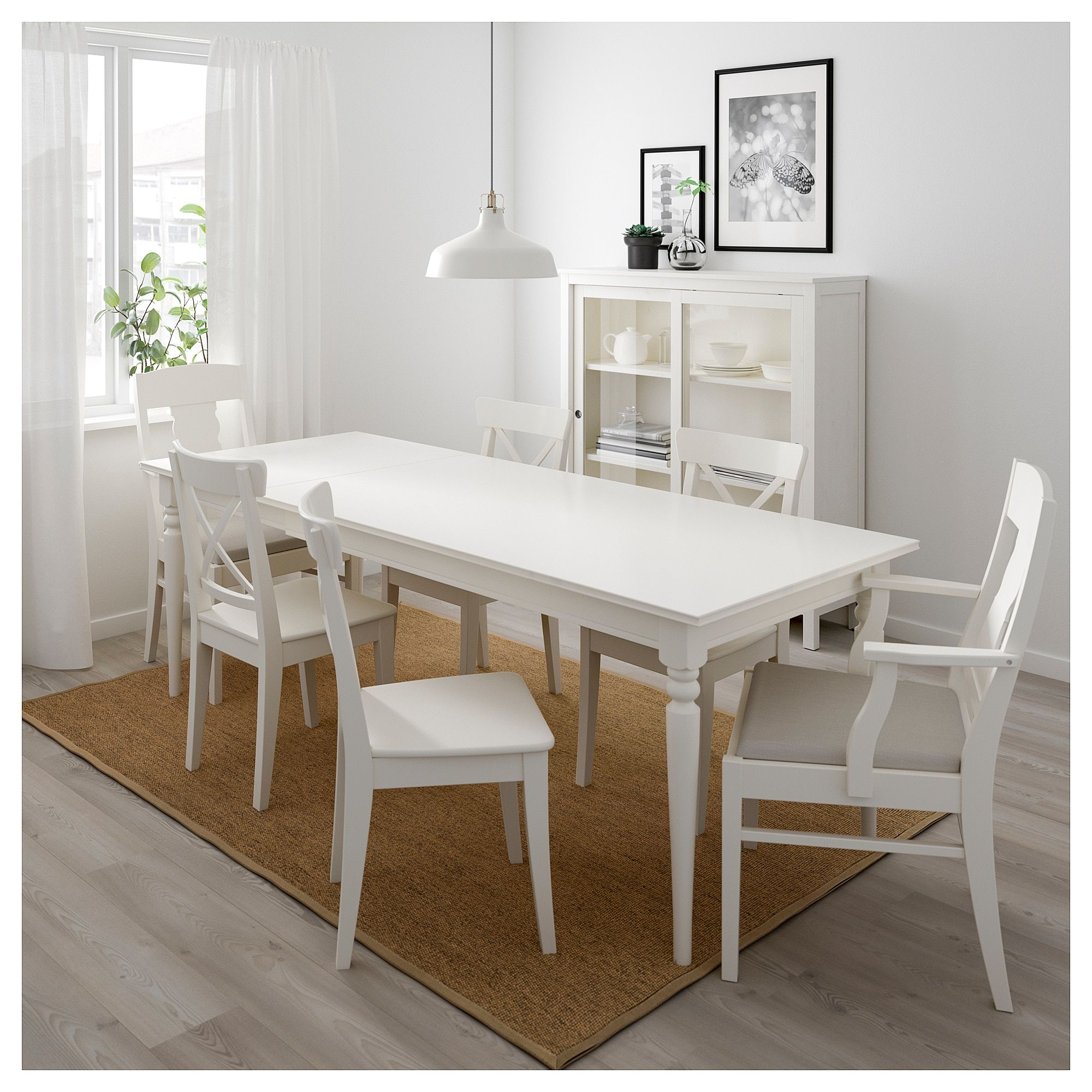 Ingatorp Ingolf Table And 6 Chairs White Nordvalla Beige In 2019