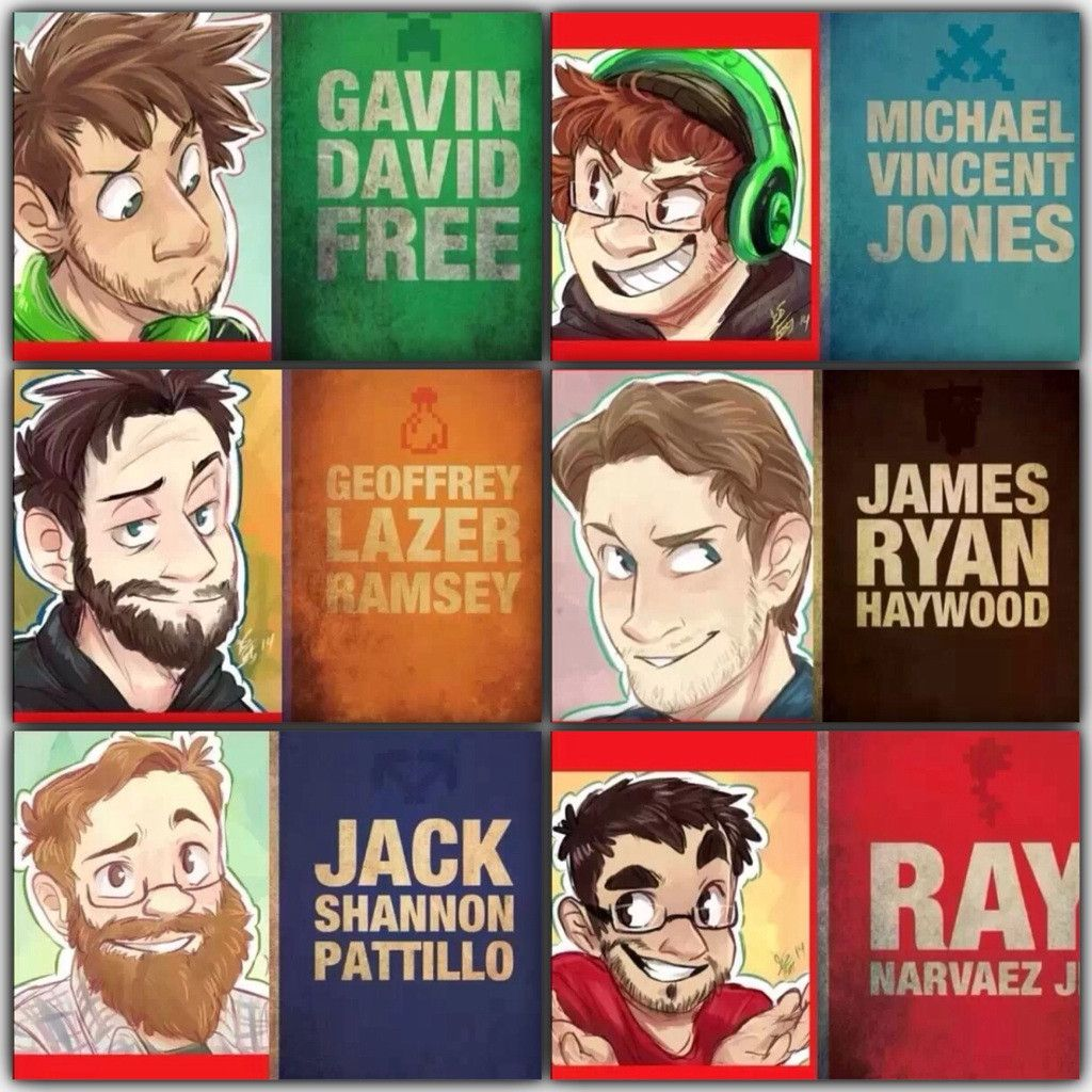 Achievement Hunter cartoon drawings with themed colour ...