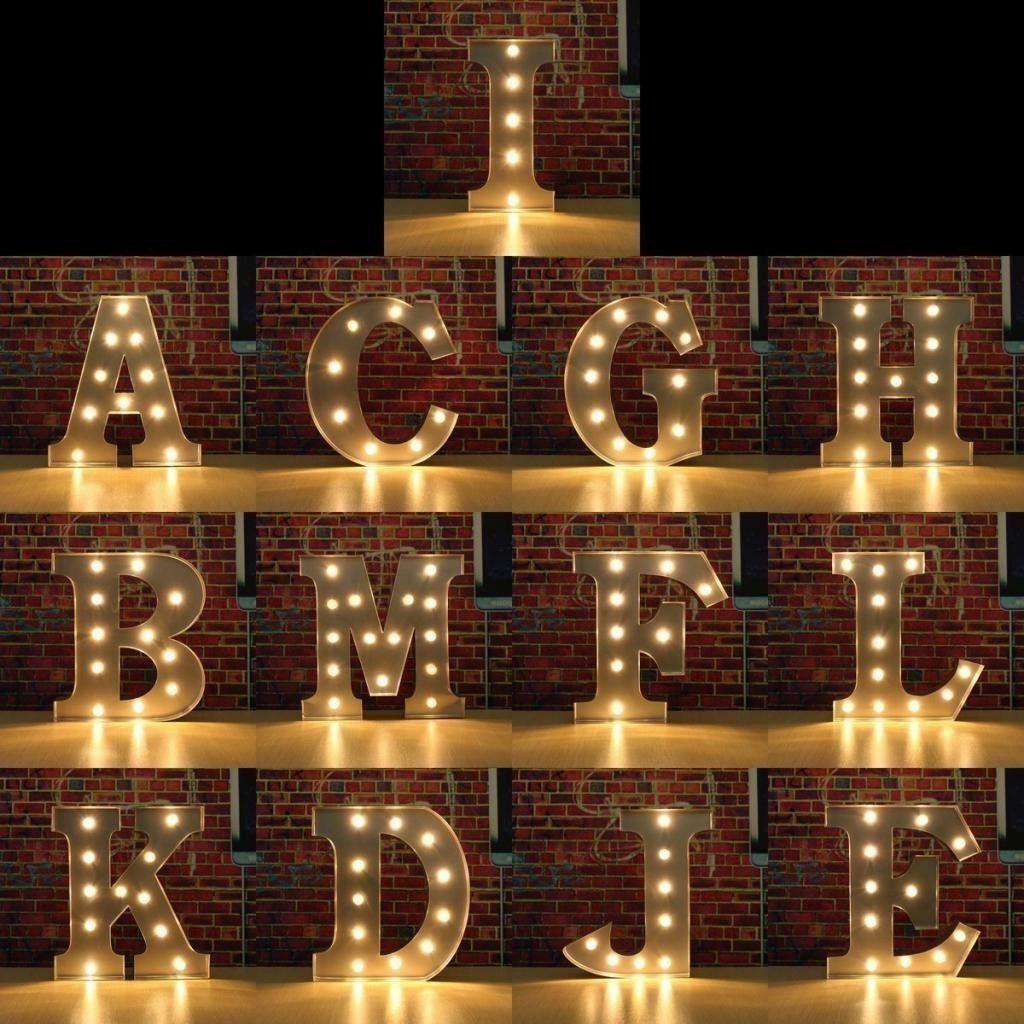 Alphabet Letter Lights Led Light Up White Wooden Letters Standing Hanging Party 7 72 White In 2020 Light Up Marquee Letters Lighted Marquee Letters Light Letters