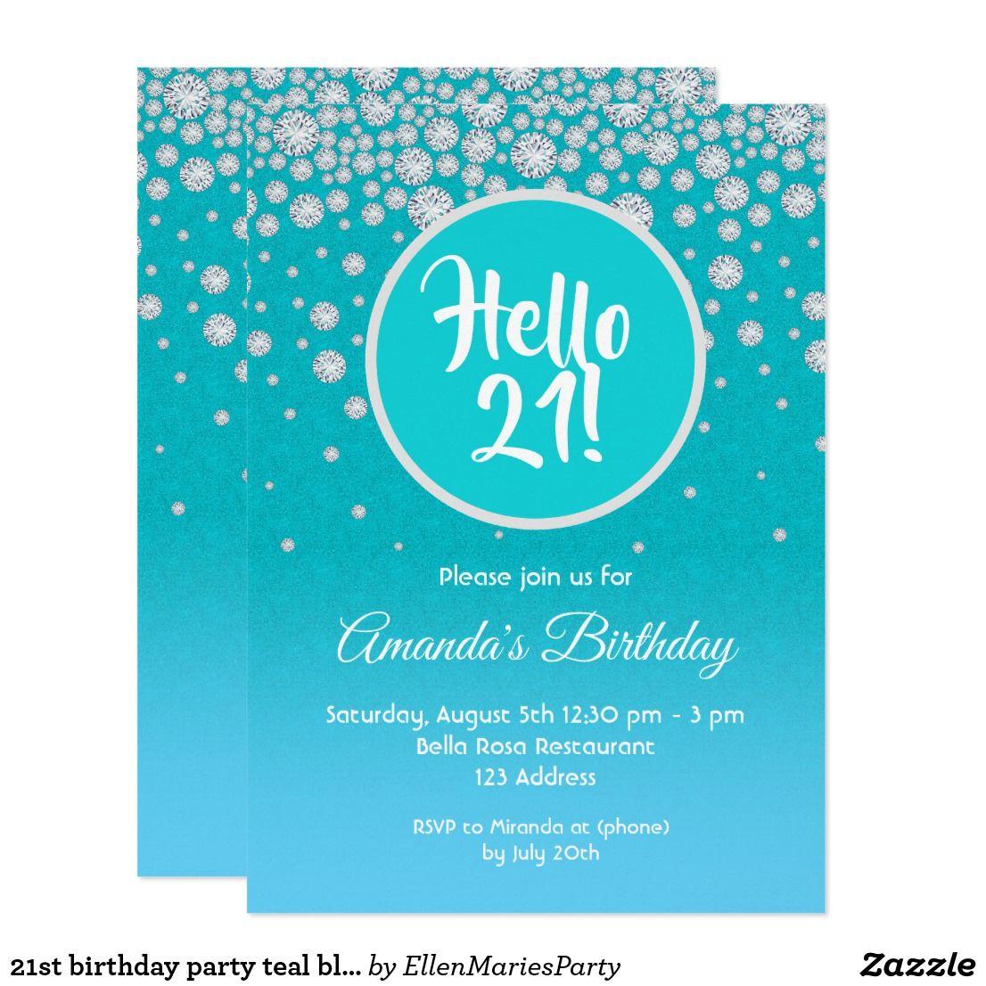 21st birthday party teal blue diamonds glitter invitation
