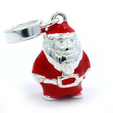 Santa Claus in Christmas Present Sterling Silver Dangle Bead Charm, fits Trollbeads
