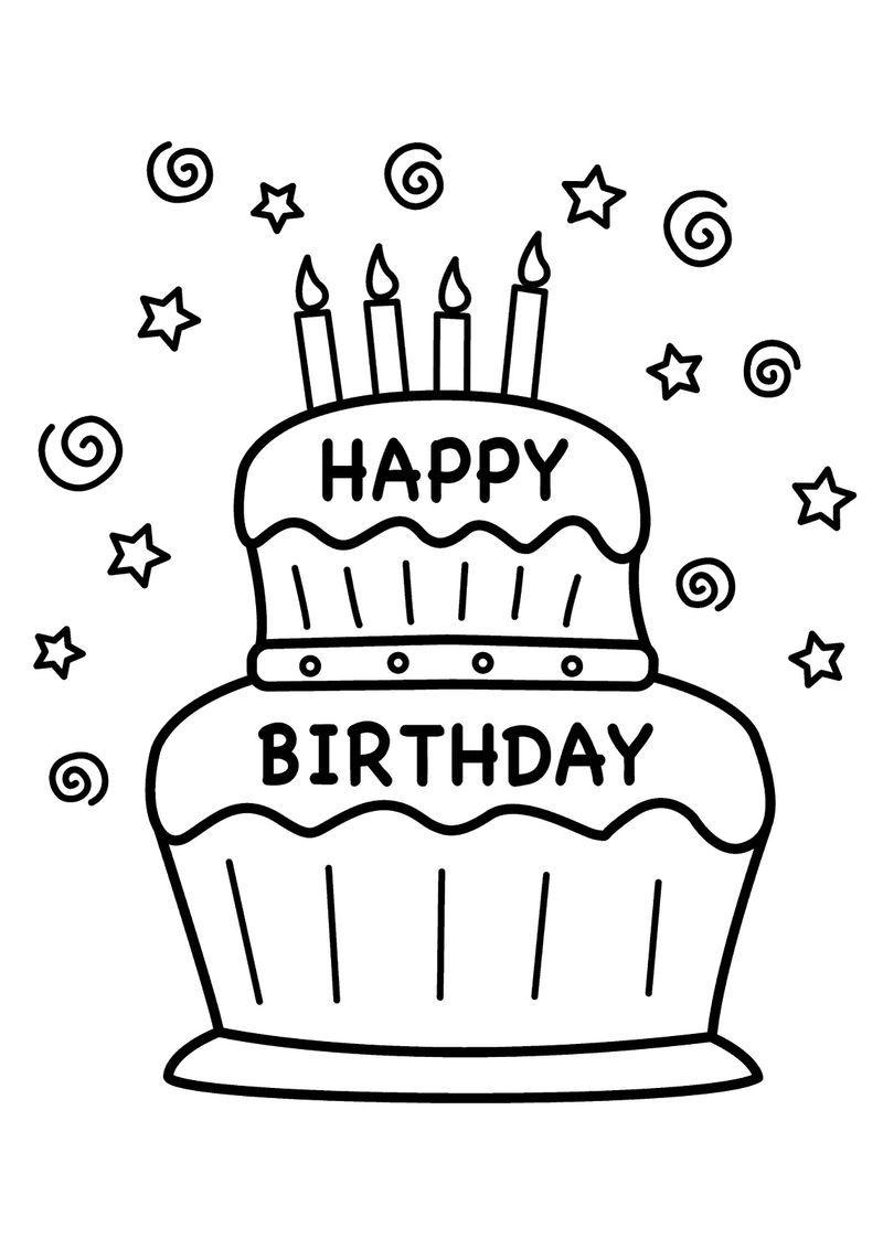 Happy birthday color pages printable happy birthday
