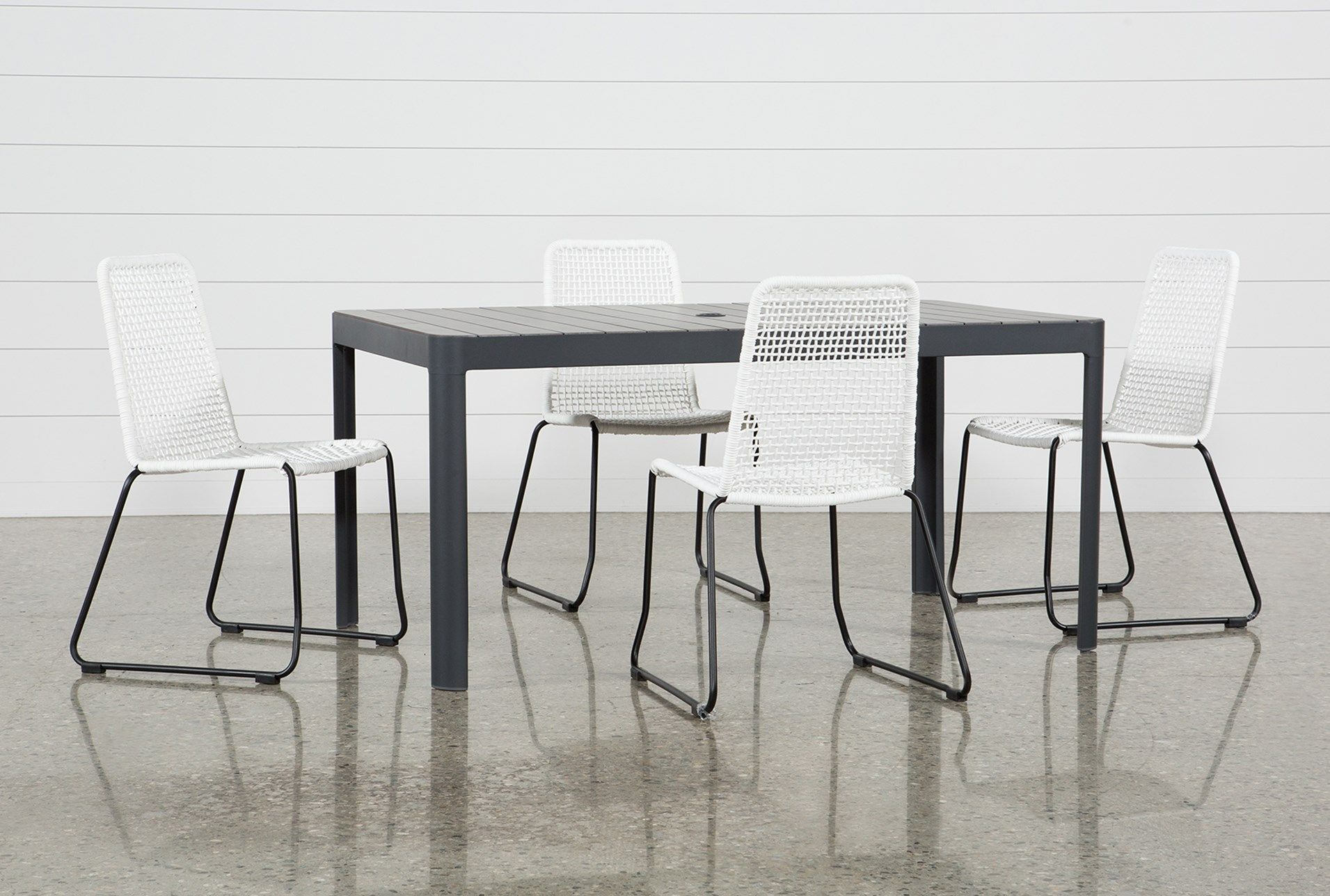 Outdoor Andaz Dining Table With 4 Pilo White Side Chairs Outdoor