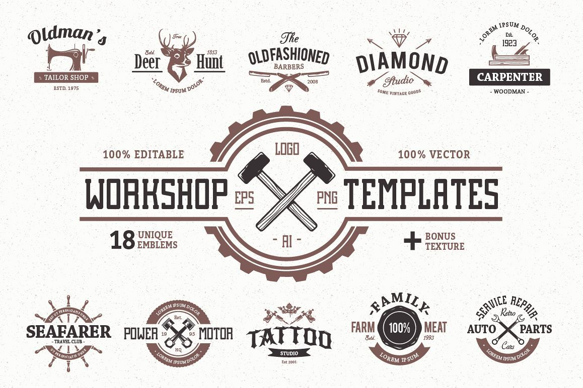 Workshop Logo Templates 2118 Logos Design Bundles Logo Templates Woodworking Logo Logo Design