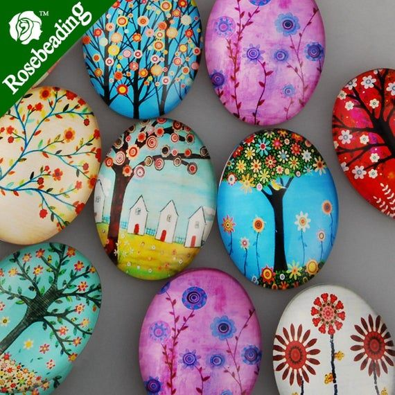 Photo of 10PCS 30x40MM Mixed Oval Flat Back Handmade Photo Glass Cabochon – Image Glass Cabochons
