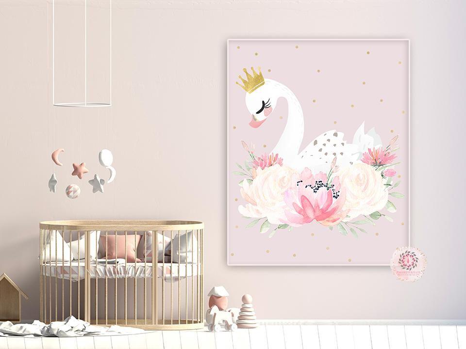 Personalised Name Princess Swan Lake Print Baby Girl Nursery Wall Art Picture