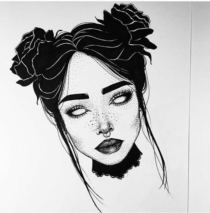 Черно-белые картинки нарисованных девушек