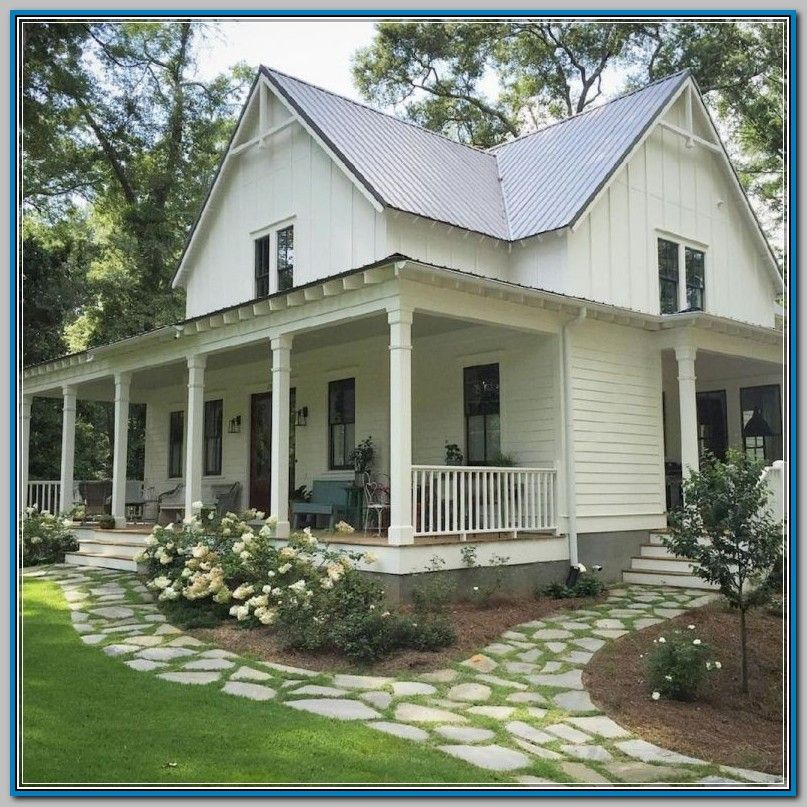 Genius Ideas For Improving Your Path And Walkway Landscape Discover More At The Image Lin In 2020 Modern Farmhouse Exterior Farmhouse Landscaping Farmhouse Exterior