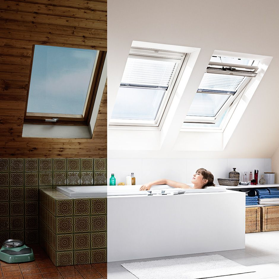 Loft bedroom with bathroom  Pine finish or white finish VELUX roof window Decisions decisions