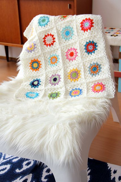 Crochet blanket, love the colours