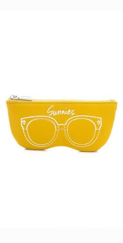 A leather Rebecca Minkoff pouch protects sunglasses in style with a metallic drawing and 'Sunnies' lettering. Zip closure and print-lined interior.