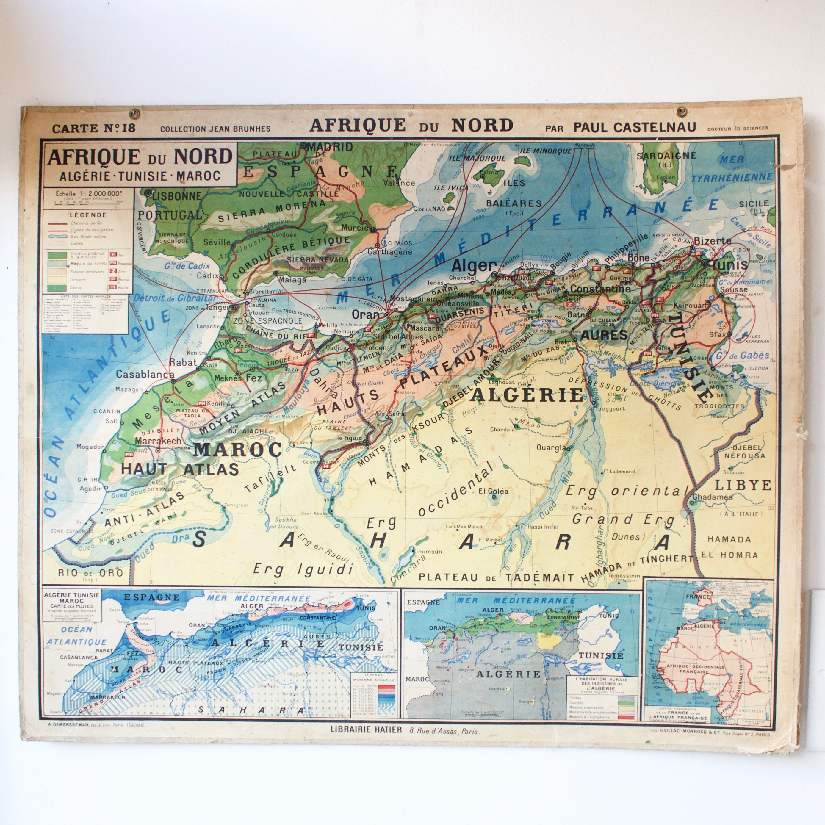 Carte Scolaire Ancienne N18 Afrique Du Nord French Vintage