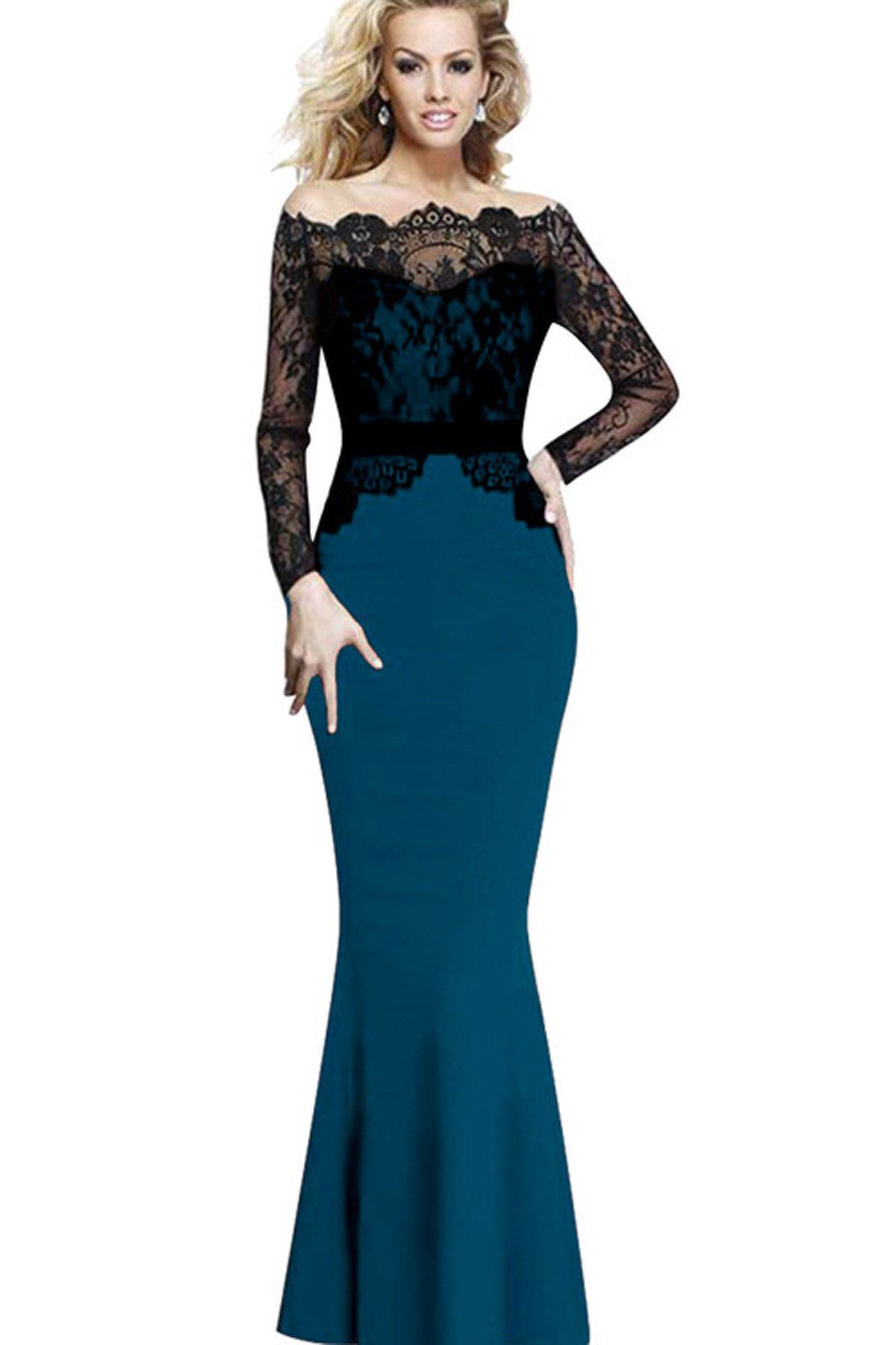 Splicing mermaid lace long party dress in dresses pinterest
