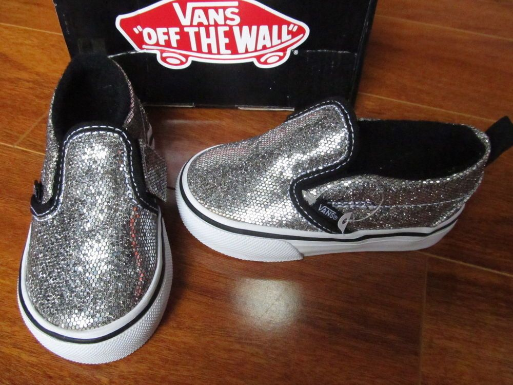 bd8df4c0a5dd NEW VANS Slip On V SHOES Toddler Girls size 5 Silver Glitter | cute ...