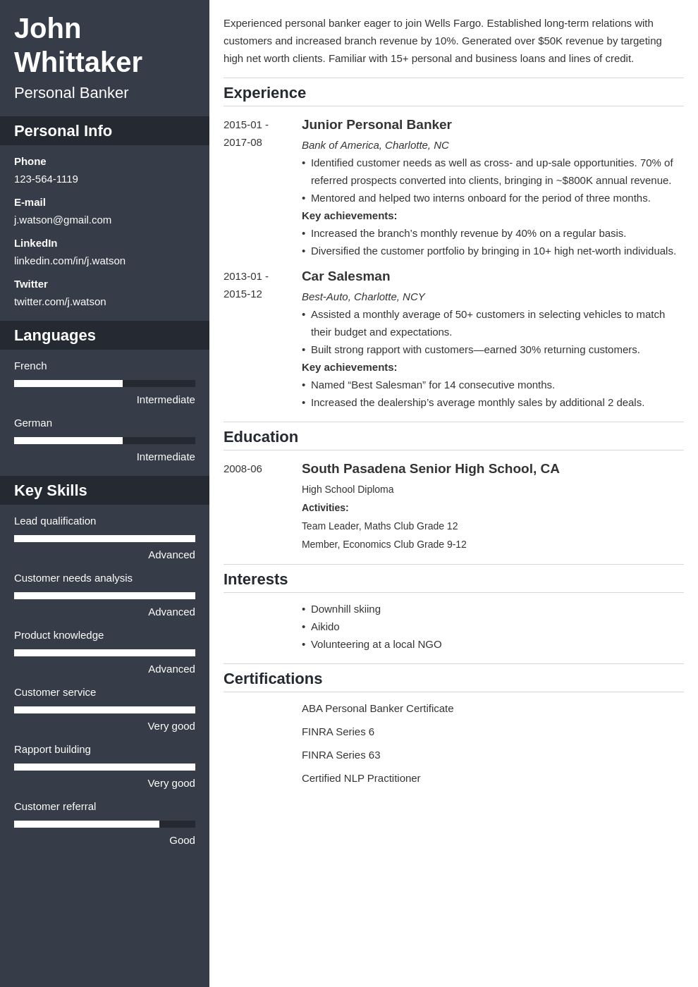 personal banker resume example template cascade in 2020