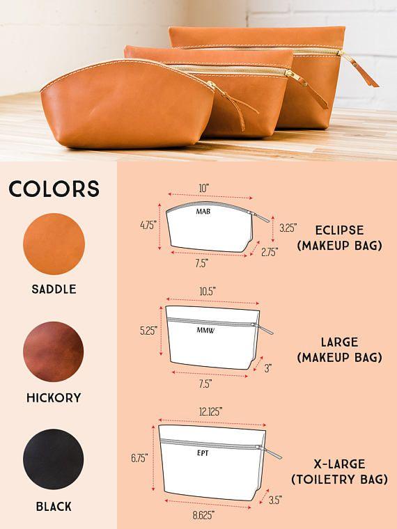 Leather Makeup BRIDESMAIDS Gift Bag Personalized Bridesmaid Leather Gift Bag Leather Bag Makeup Monogram Custom Gift for Her Makeup Bag #beautyessentials