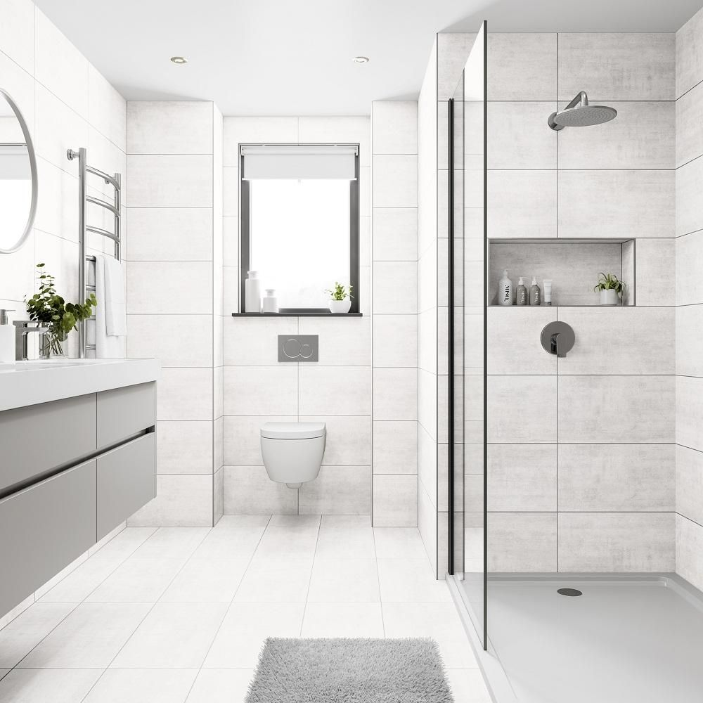 Venue White 300x600 Tile Giant Large Tile Bathroom Wall And Floor Tiles White Bathroom