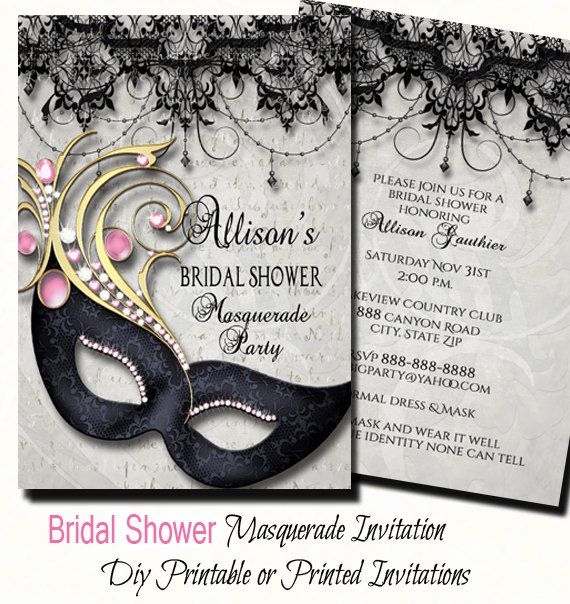 bridal shower masquerade party invitation masquerade invite bridal shower invitation digital print or printed invite with free ship wedding