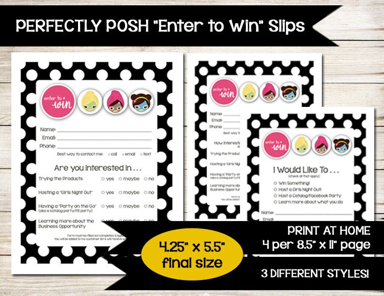 Perfectly Posh | Enter To Win | Door Prize | Drawing Slip | Raffle