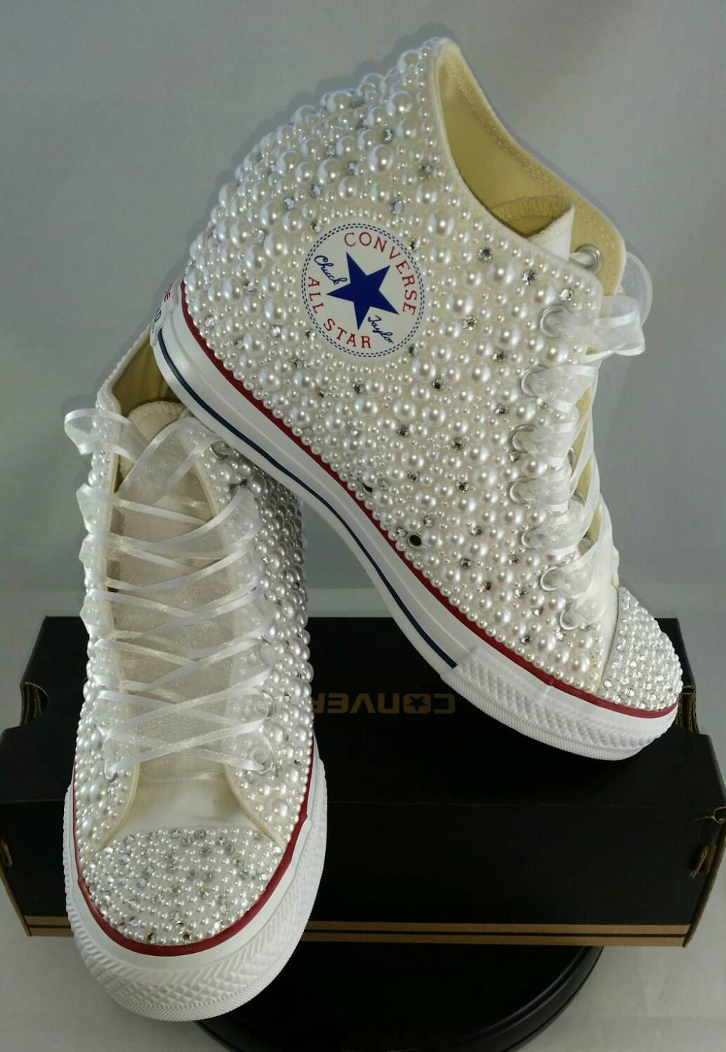 23db624dd45164 Wedge Wedding Converse- Bridal Sneakers- Bling   Pearls Custom ...