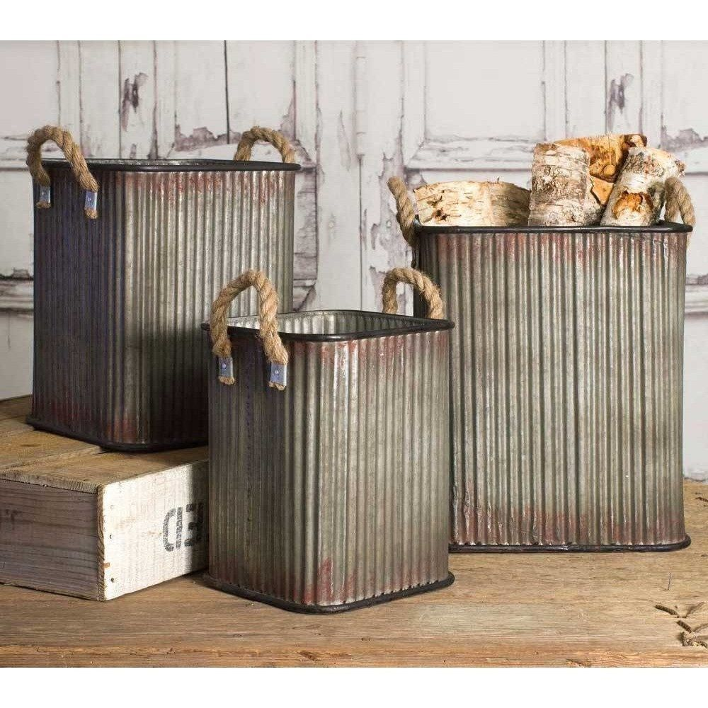 Corrugated Tin Bins or Canisters, Storage, Set of 3