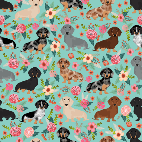Colorful fabrics digitally printed by Spoonflower doxie
