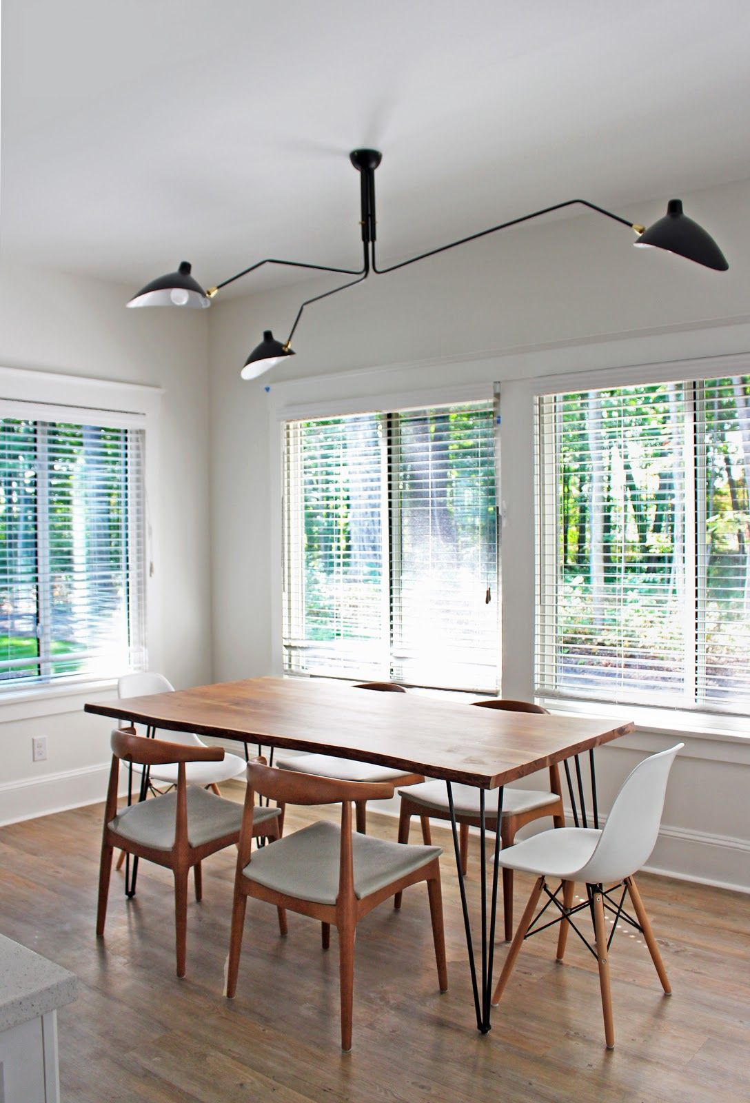 Cottage Dining Room Serge Mouille 3 Arm Ceiling Light