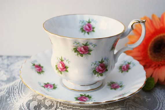 Royal Albert Tea Cup and Saucer Forget Me Not by PinkDahliaStudio