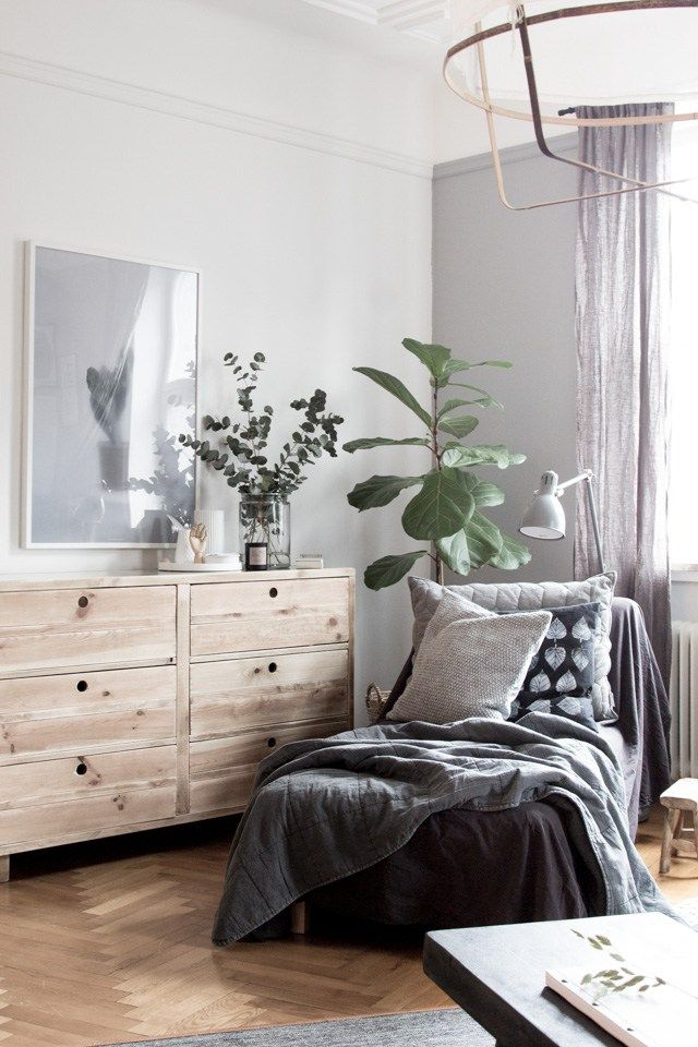 BEAUTIFUL BEDROOM WITH DANISH DESIGN is part of Scandinavian bedroom Nordic - This beautiful and calm bedroom belongs to interior designer Gen and her Danish husband Kasper, and was photographed by My Scandinavian Home blog  I love the dark and soothing colour scheme, along with soft and warm textures  The chevron wooden floor is a great touch, and a twist on