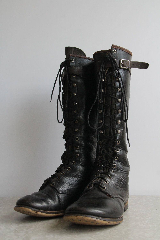 vintage WWI Combat Boots . Antique Military Footwear