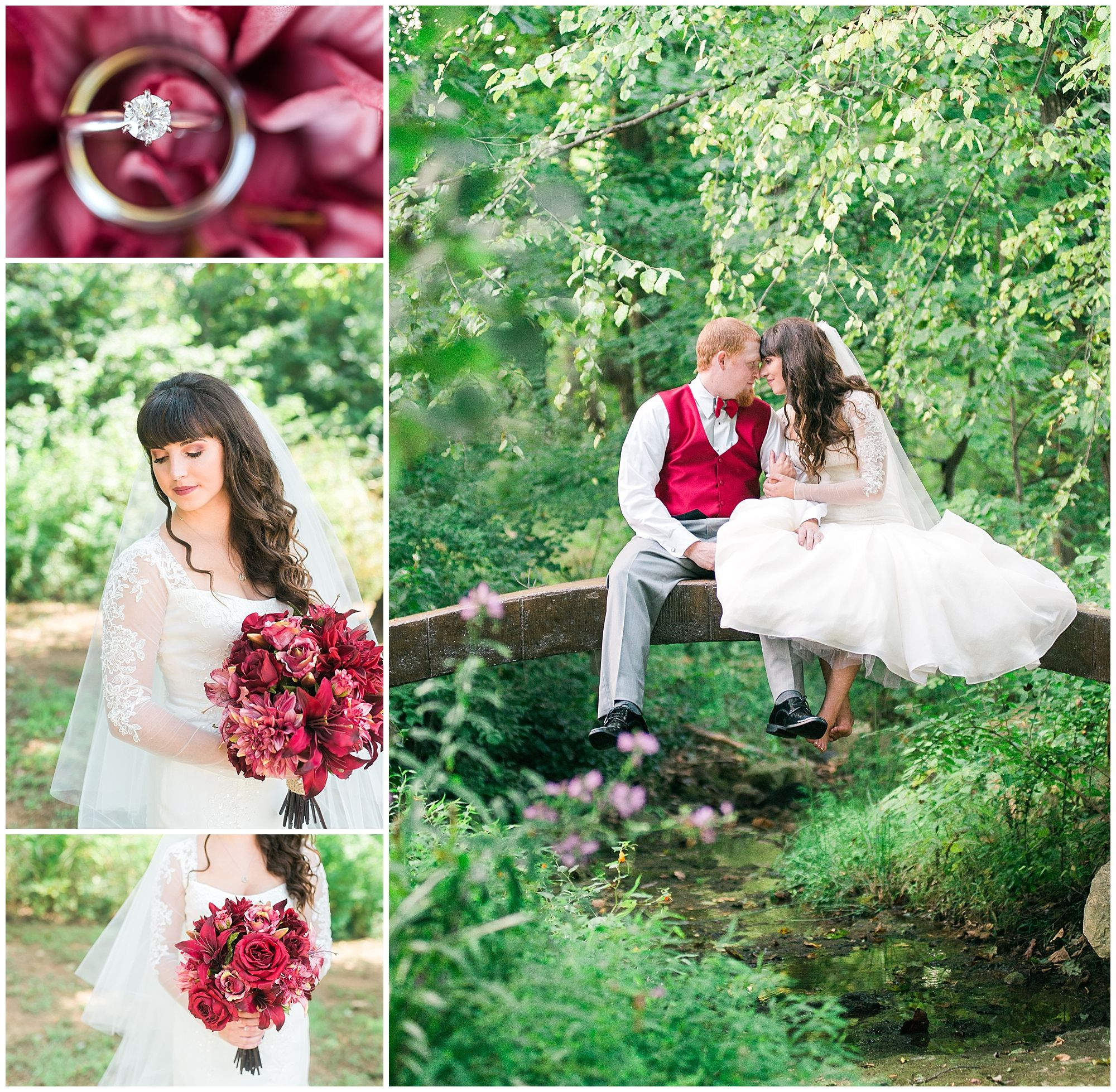 Burgundy wedding, red wedding, maroon wedding, outdoor wedding, backyard wedding, Bardstown, KY, long sleeved wedding dress, silk flower bouquet, bridge photos, Keith & Melissa Photography, Lexington wedding photographers