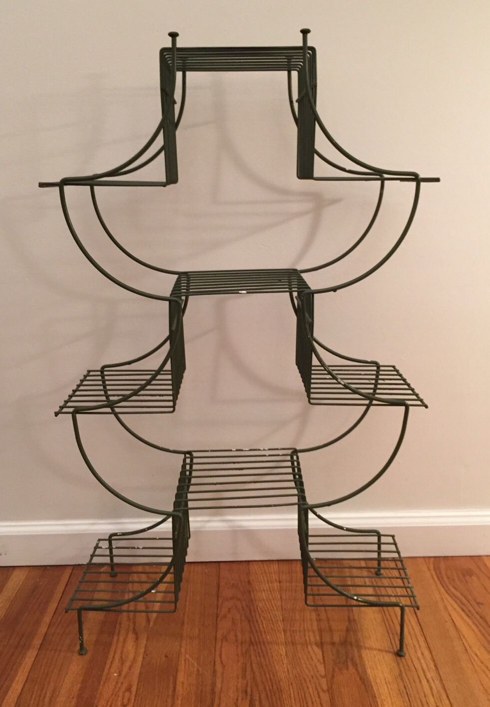 Vintage Mid Century Modern Atomic Wire Plant Stand Pagoda Style