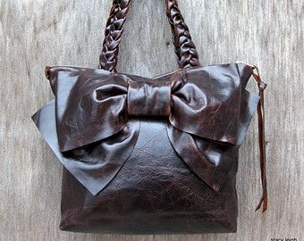 Leather Bow Petite Satchel Handbag in Dark Brown Distressed Pull Up Leather by Stacy Leigh Made to Order