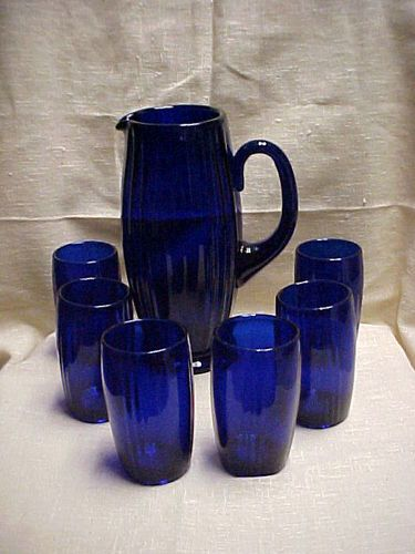 New Martinsville Glass Cobalt Blue Oscar Water Pitcher Set I would love a set like this one. Beautiful.