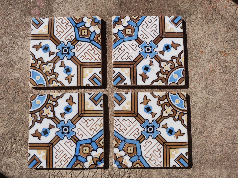 Antique floor mosaic tile architecture salvaged terracotta french antique floor mosaic tile architecture salvaged terracotta french vintage tiles ceramic architectural salvage decor doublecrazyfo Image collections