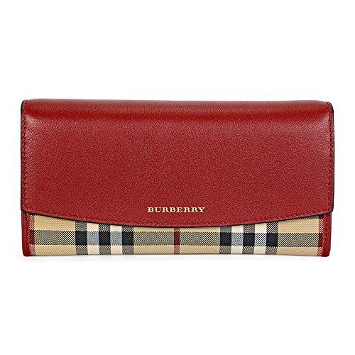 Burberry Womens Beige Tan Red Horseferry Check Leather Continental Porter  Wallet 276f73274a
