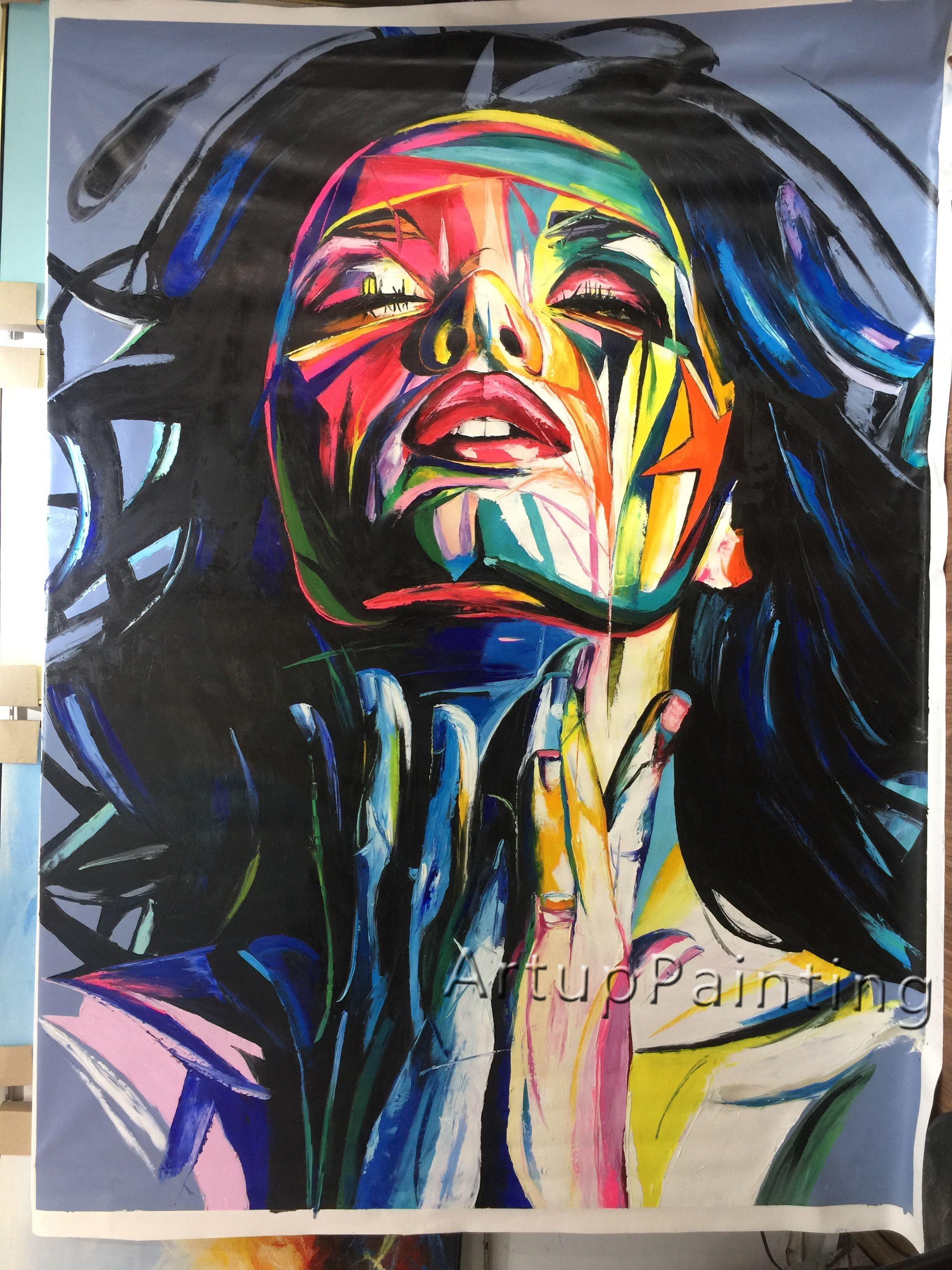 Face Oil Painting Francoise Nielly Style Palette Portrait Canvas Impasto Wall Art Pictures Home With Free Shipping Worldwide Weposters Com Modern Art Paintings Abstract Modern Art Paintings Face Oil Painting