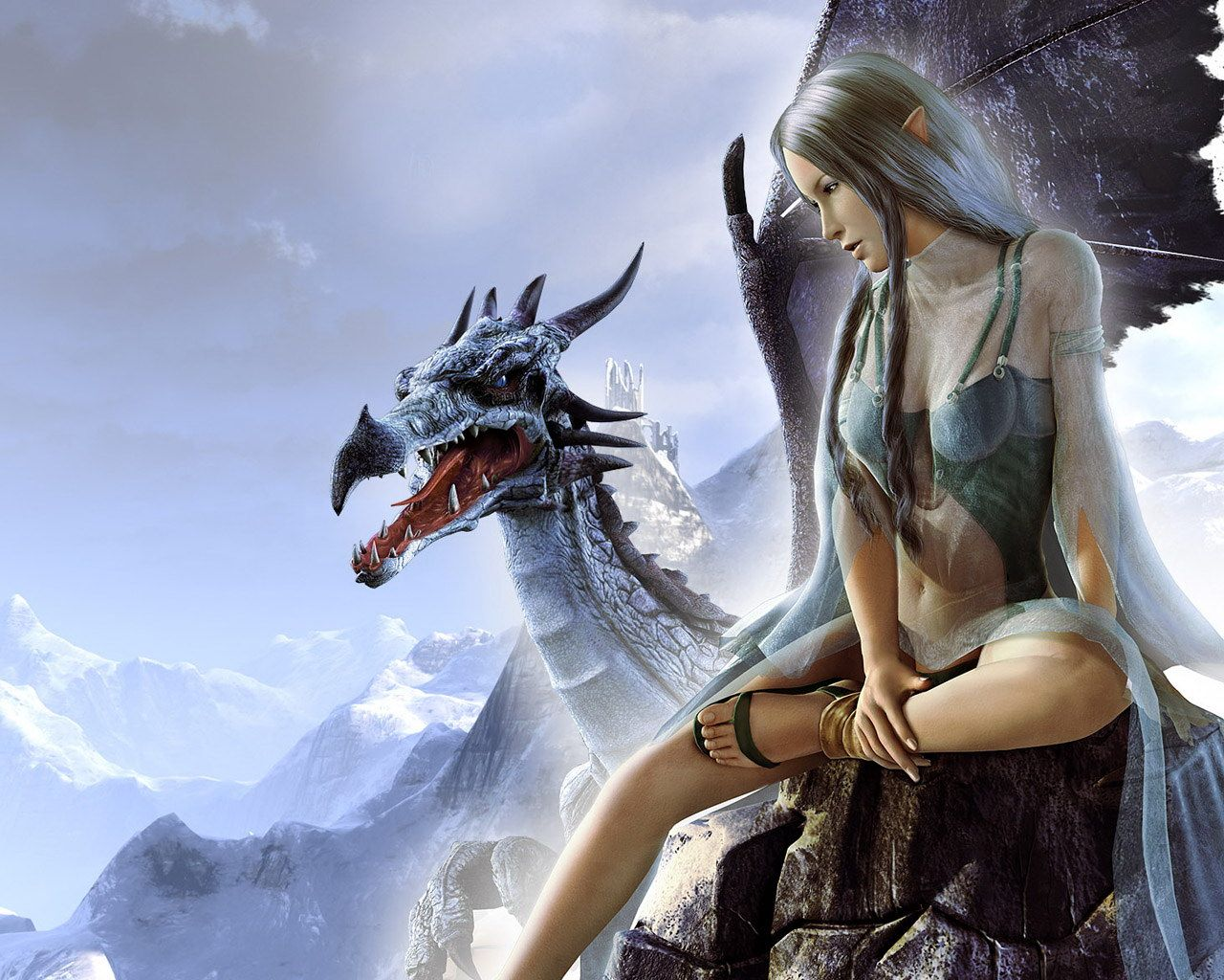 Download Wallpaper Beautiful Girl Elf Woman And Dragon Download Photo Wallpapers For Desktop Elf Dragon Fantasy Girl Dragon Girl Female Dragon