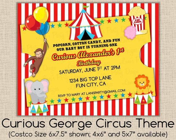 Curious george circus theme invitation any occasion baby shower curious george circus theme invitation any occasion baby shower boy girl or twins filmwisefo Image collections