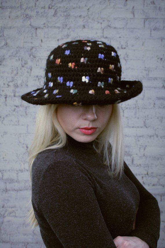 Ladies crochet hat Womens winter hats Black knit cap Brimmed hat Multicolor  cap Buchet hat wool Flop 7e489891f8