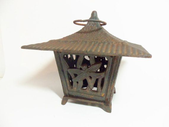 Lantern Cast Iron Dragonfly Paa Candle By Thevintageporch 34 00 Outdoor Garden Lanterns