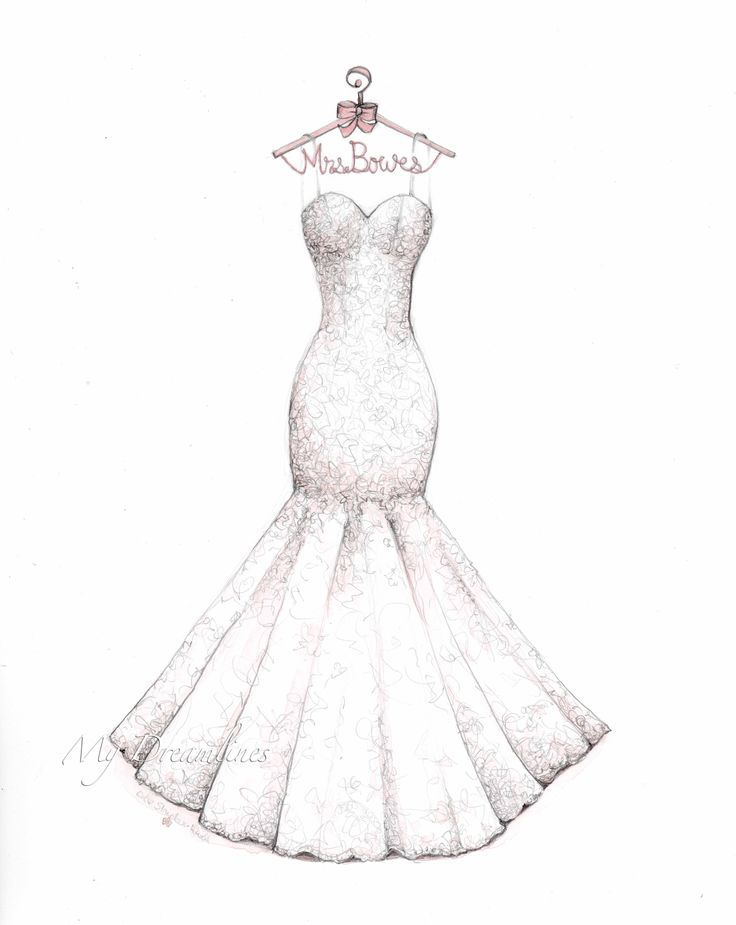 f277ab83e6c Lace mermaid wedding dress sketch with decorative hanger by Catie  Stricker-Howell