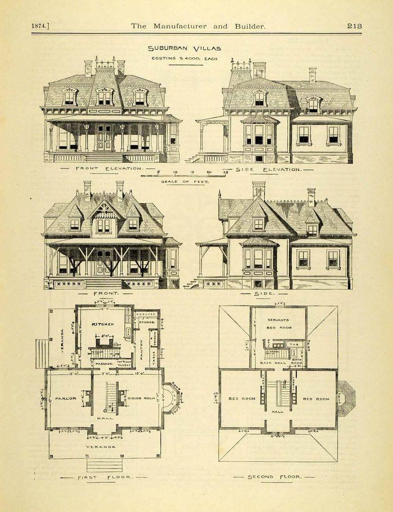 1874 Print Victorian Architecture Suburban House Villa Floor Plans