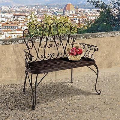 Serpentine Scrolling Architectural Powder Coated Metal Garden Bench French Quarter Design Gartenstrukturen