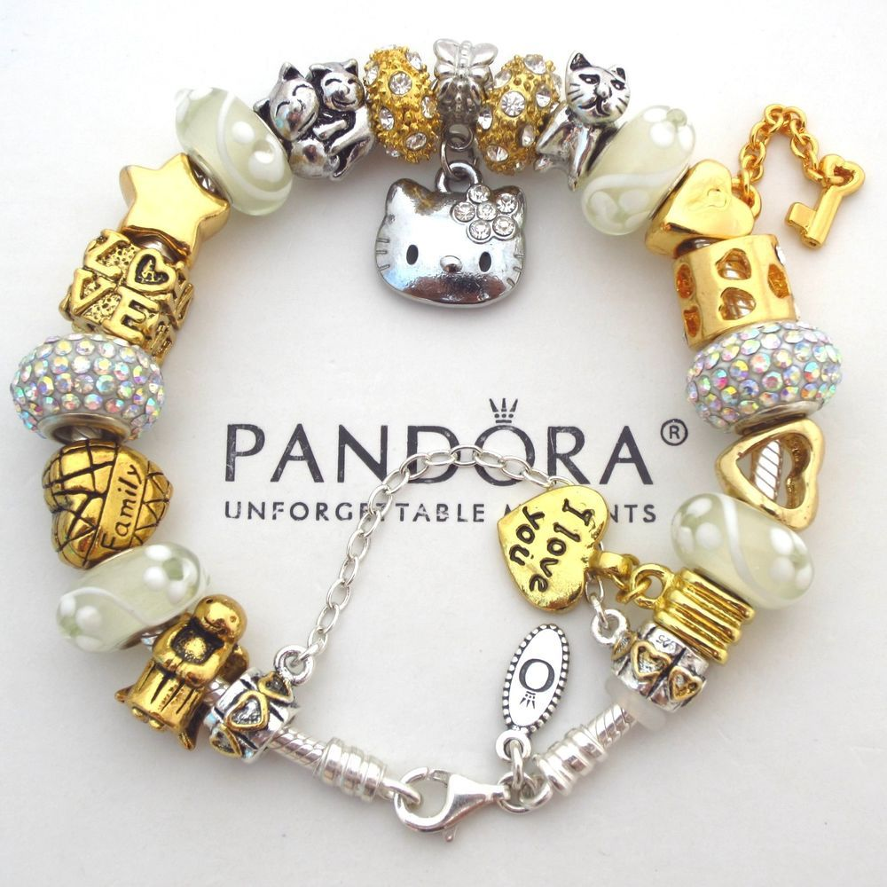 Pandora Sterling Silver Charm Bracelet with Hello Kitty Angel ...