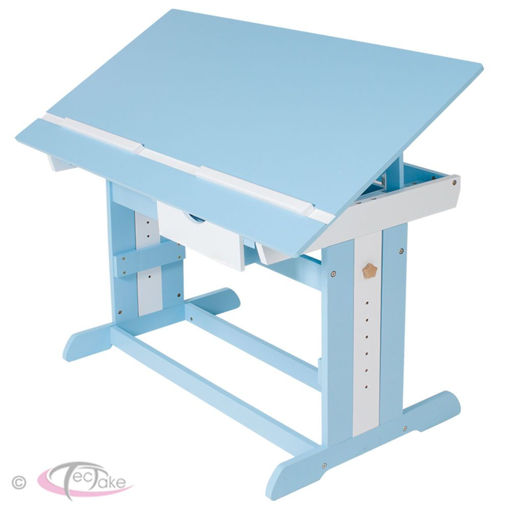 Kids Height Adjustable Tilting Homework Writing Table Study Desk Children  Blue