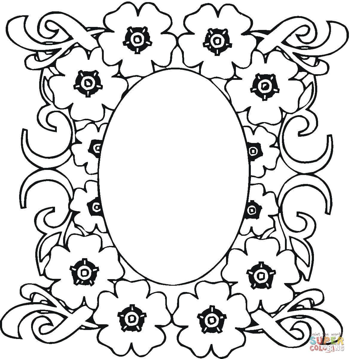 Mirror In The Flowers Ornament Coloring Page Free Printable Coloring Pages Flower Coloring Pages Free Printable Coloring Pages Coloring Pages